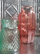 UPGRADE: Heavy Red Glass Vase With Diamond Cut Accents