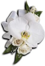 White Orchid and Rose Corsage