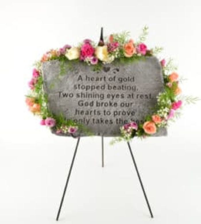 Memorial Stone with floral swag